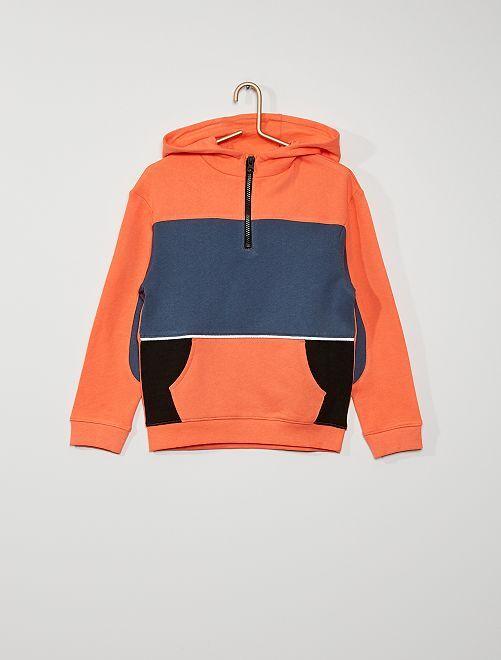 Sudadera con capucha 'colorblock'                             naranja
