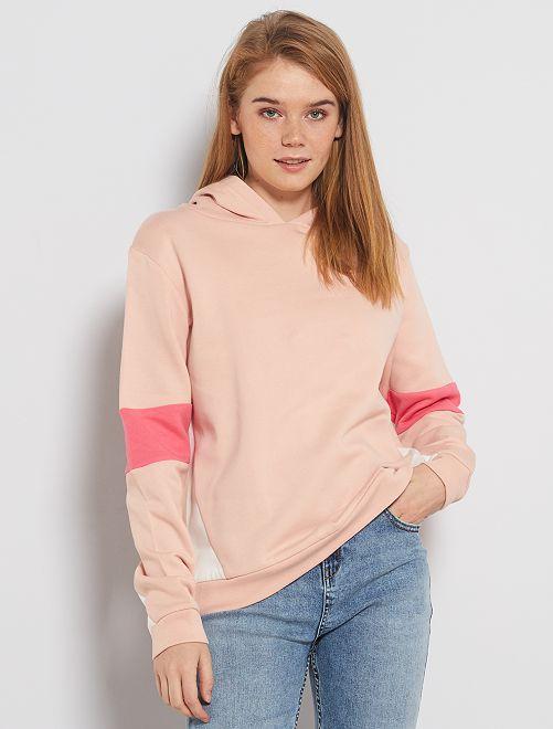 Sudadera con capucha colorblock                             ROSA
