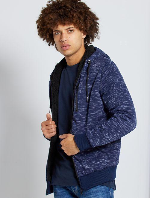 Sudadera con capucha con forro de borreguito                                         azul