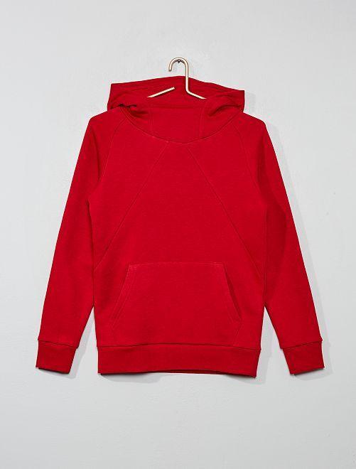 Sudadera con capucha y cuello alto                                         rojo