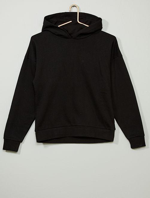 Sudadera con capucha y mensaje                                                                                                     negro