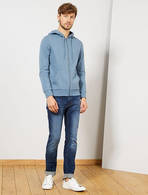 Sudadera con cremallera y capucha                                                                                                                                                                             azul gris
