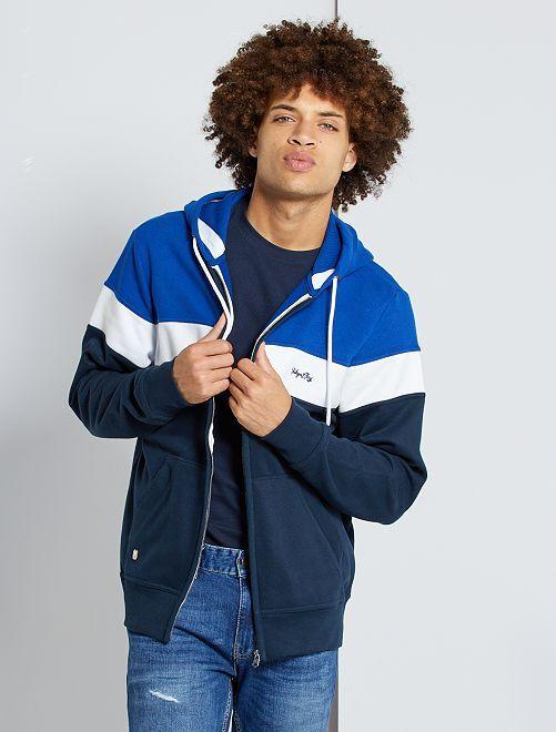 Sudadera con cremallera y capucha                                                     azul