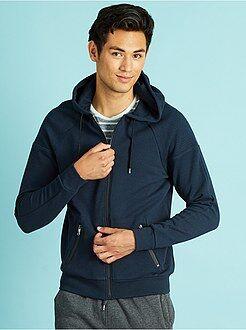 Hombre Sudadera con cremallera y capucha azul marino