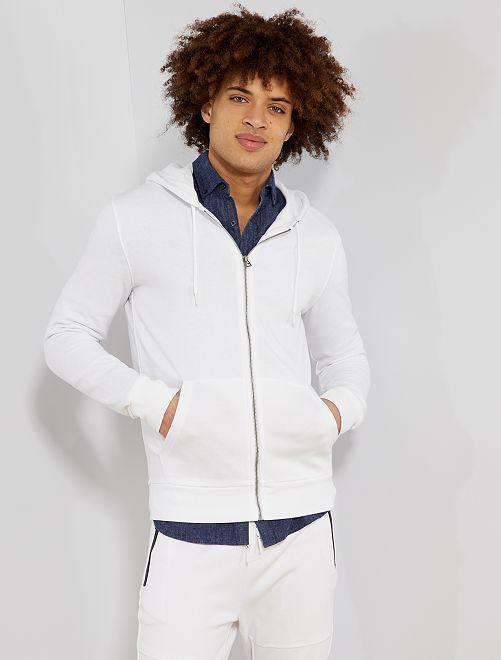 Sudadera con cremallera y capucha                                                                                                                             blanco Hombre