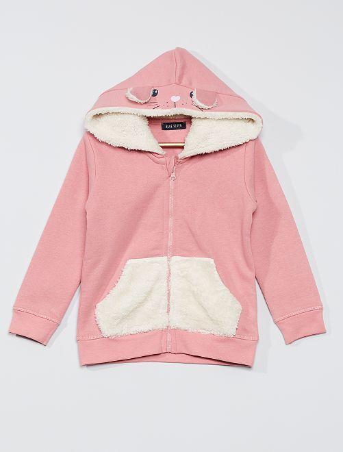 Sudadera con cremallera y capucha de 'conejo'                                         rosa