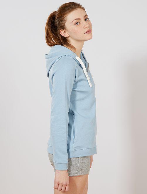 Sudadera con cremallera y capucha de felpa ligera                                                                                                                             azul gris Mujer talla 34 a 48