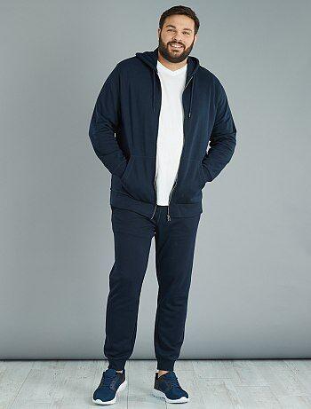 Tallas grandes hombre - Sudadera con cremallera y capucha de felpa ligera - Kiabi
