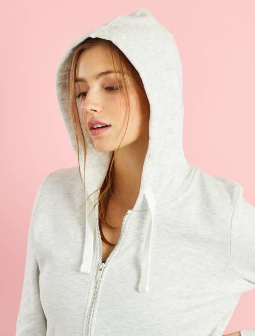 Sudadera con cremallera y capucha de felpa ligera                                                                     blanco Mujer talla 34 a 48