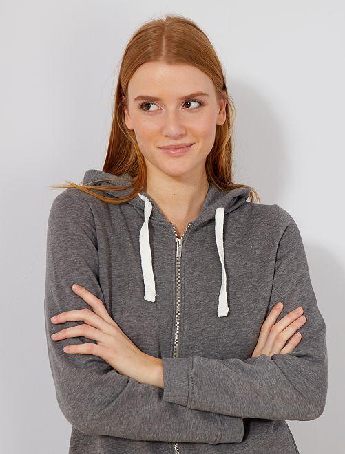 Sudadera con cremallera y capucha de felpa ligera                                                                             GRIS Mujer talla 34 a 48