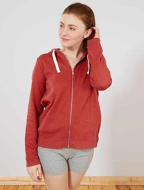 Sudadera con cremallera y capucha de felpa ligera                                                                                                                             rojo Mujer talla 34 a 48