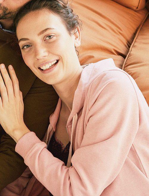 Sudadera con cremallera y capucha de felpa ligera                                                                                                                                                                 rosa Mujer talla 34 a 48