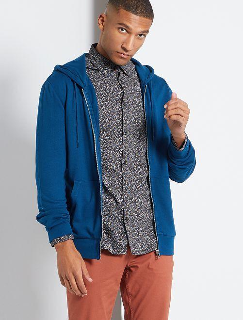 Sudadera con cremallera y capucha eco-concepción                                                                             azul poseidon