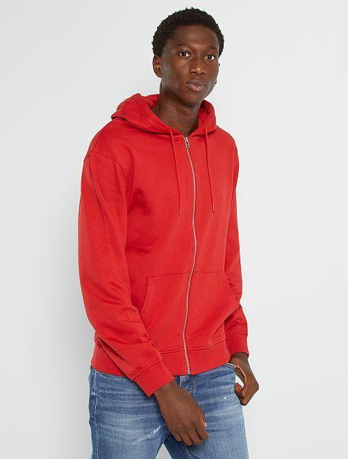 Sudadera con cremallera y capucha                                                                                                                                                     rojo bombero