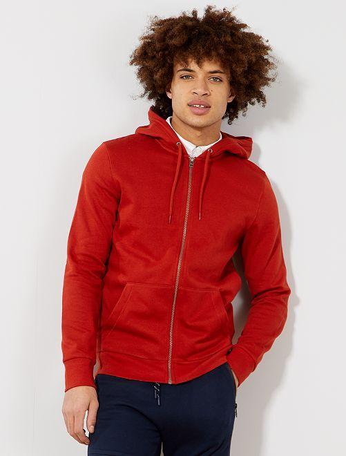 Sudadera con cremallera y capucha                                                                                                                                                                             rojo Hombre