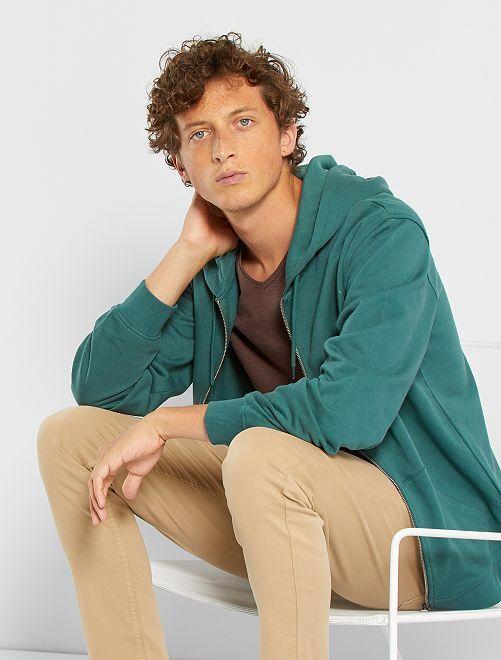 Sudadera con cremallera y capucha                                                                                                                                                     verde oscuro