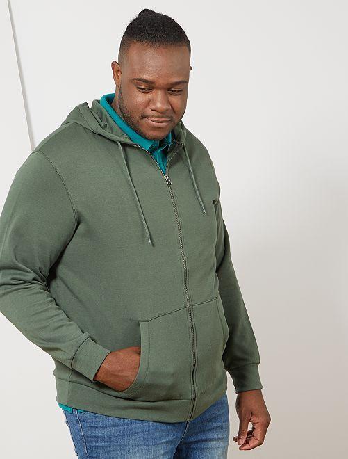 Sudadera con cremallera y capucha                                                                             verde tomillo