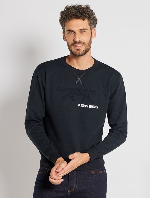 Sudadera con logo en relieve 'Airness'                             negro