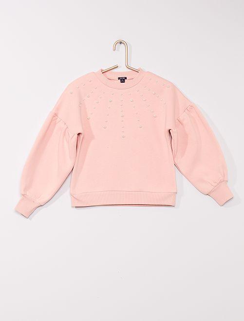 Sudadera con pedrería                                         rosa