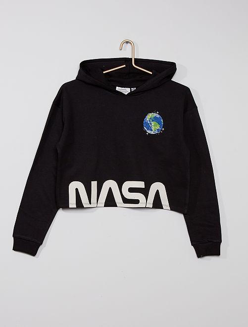 Sudadera crop 'NASA' eco-concepción                             negro