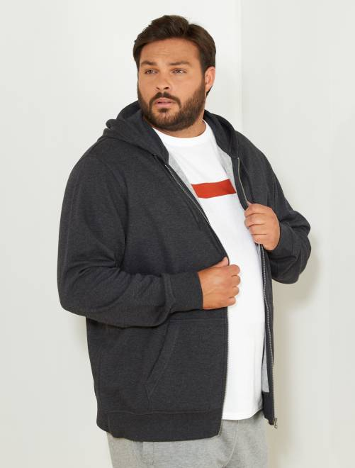 Sudadera de cremallera con capucha de felpa ligera                                                     gris Tallas grandes hombre