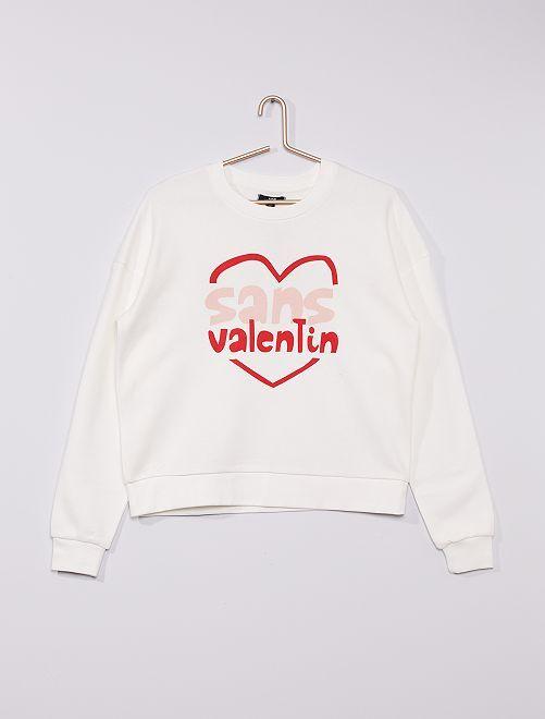 Sudadera de cuello redondo 'San Valentín'                             BLANCO