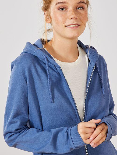 Sudadera de felpa con cremallera y capucha                                                                                 azul oscuro