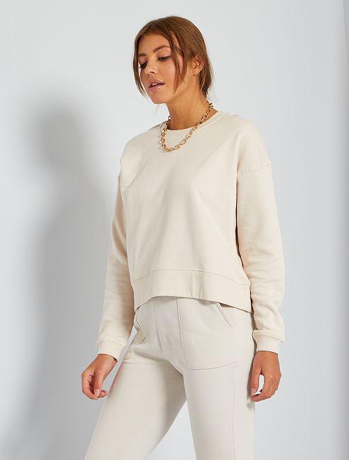 Sudadera de felpa perchada cálida                                                                             blanco caliza