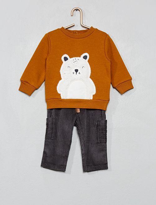 Sudadera de 'oso' y pantalón                             AMARILLO