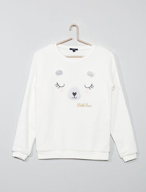 Sudadera de pijama de tejido polar 'oso'                             ROSA