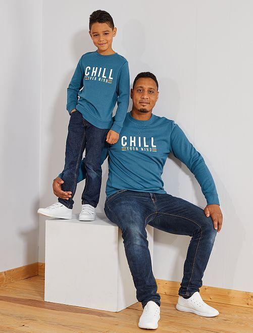 Sudadera estampada 'Chill'                                                                                                                 AZUL Hombre