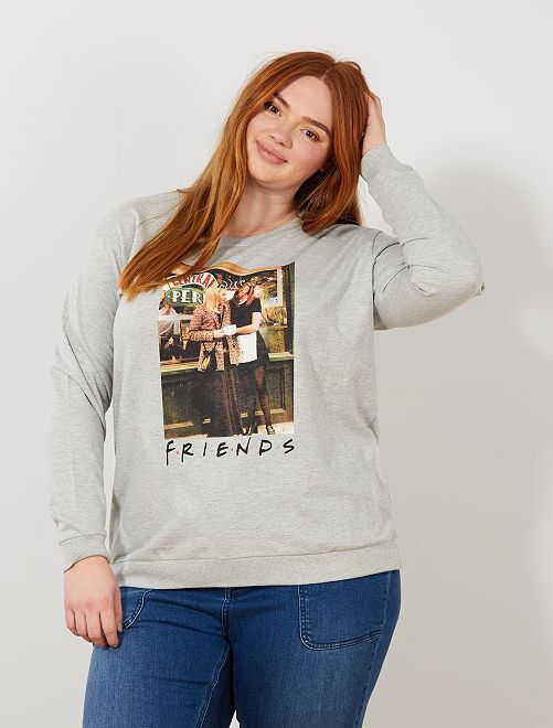 Sudadera fina 'Friends'                             GRIS Tallas grandes mujer