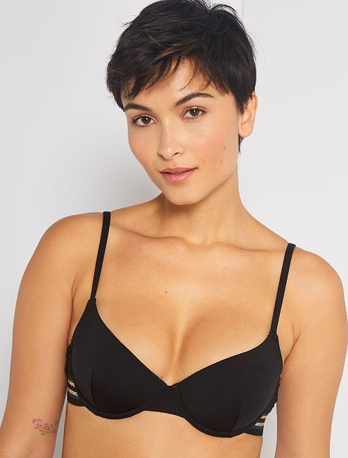 Sujetador de bikini con aros                             negro