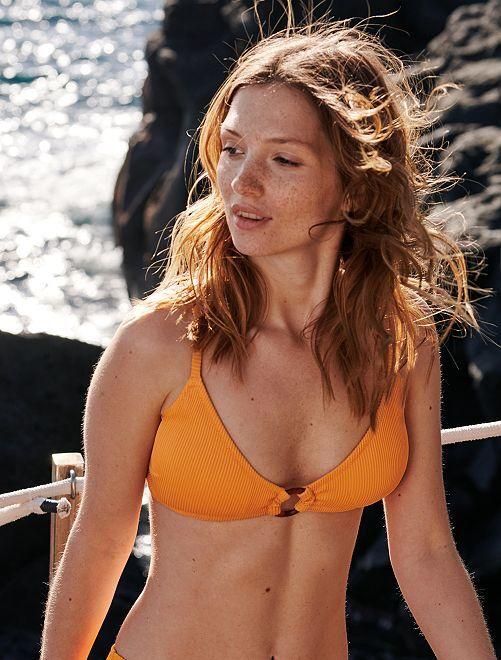 Sujetador de bikini de triángulo                                                                 albaricoque Mujer talla 34 a 48