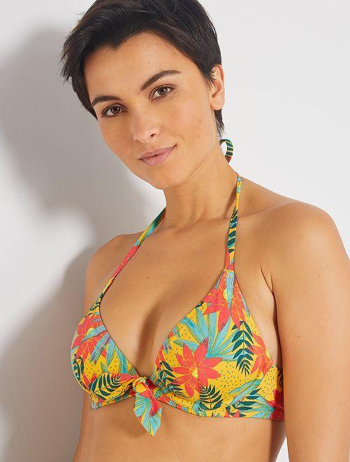 Sujetador de bikini de triángulo con aros                                         NARANJA