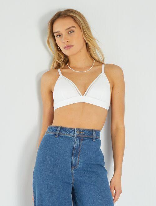 Sujetador triángulo algodón almohadillas extraíbles                                                                                                     blanco