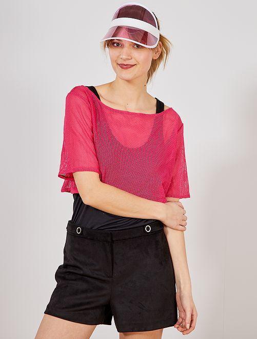 Top corto de rejilla en color flúor                                         rosa