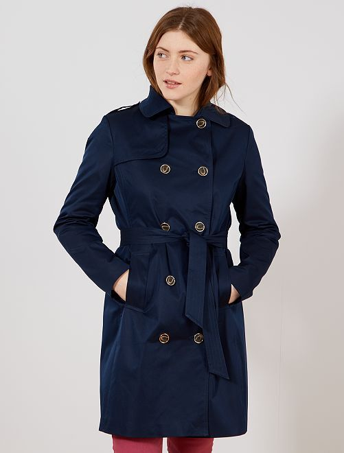 Trench liso impermeable                                         azul Mujer talla 34 a 48