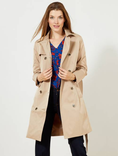 Trench liso impermeable                             beige Mujer talla 34 a 48