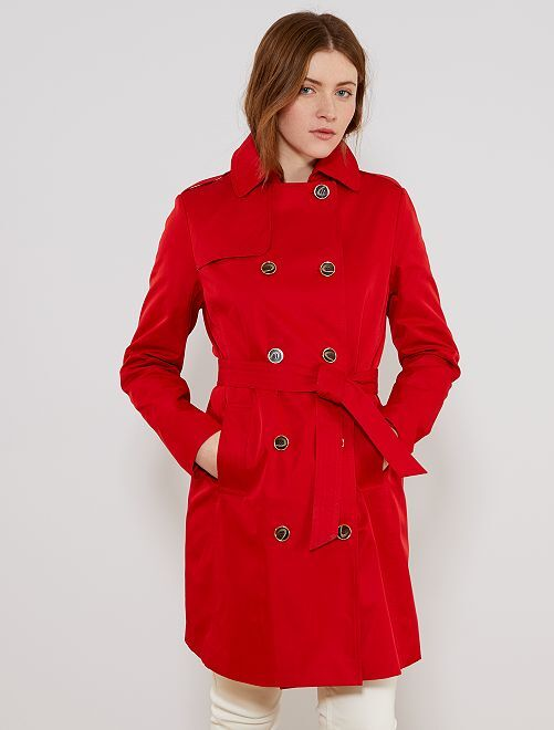 Trench liso impermeable                                                     ROJO Mujer talla 34 a 48