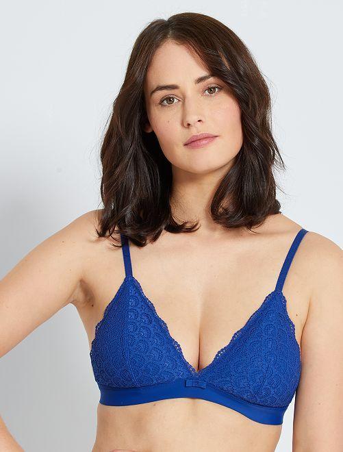 Triángulo encaje almohadillas extraíbles                                                     azul