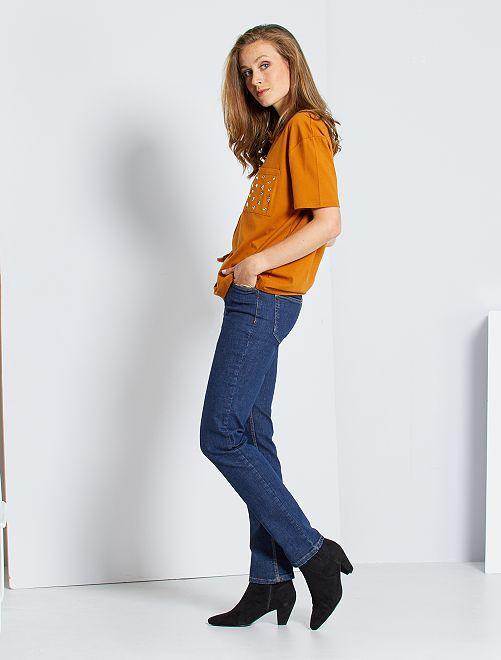 Vaquero de talle alto corte regular elástico                                                     AZUL Mujer talla 34 a 48