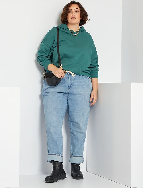 Vaquero mom con cintura elástica                                                                 AZUL