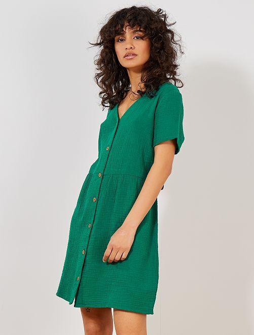 Vestido 100 % algodón de efecto fruncido                     VERDE Mujer talla 34 a 48
