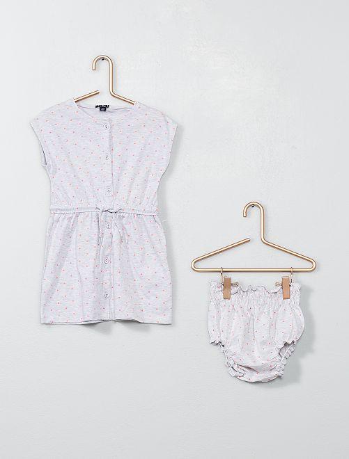 Vestido abotonado + braguita                                                     GRIS Bebé niña
