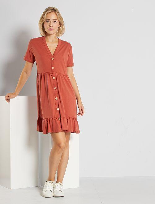 Vestido abotonado de algodón 'JDY'                                         rojo teja