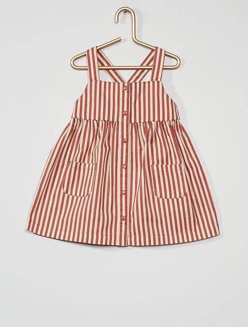 Vestido abotonado estampado                                                                             a rayas rosa