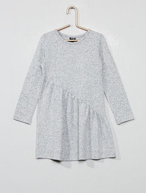 Vestido asimétrico de punto                                                     gris