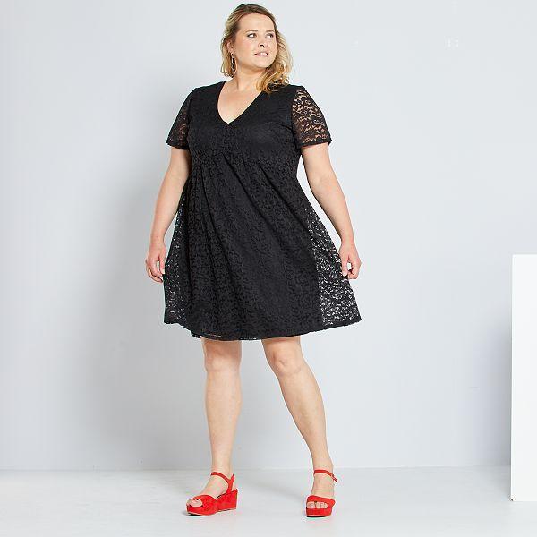 Vestido Babydoll De Encaje Tallas Grandes Mujer Negro Kiabi 25 00