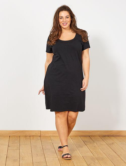 Vestido básico de punto                             negro Tallas grandes mujer